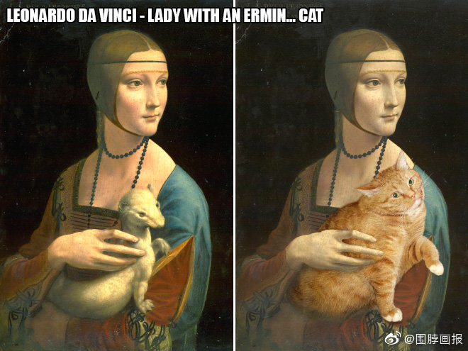 完美融入世界名画的大橘猫