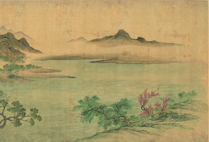清·恽寿平《湖山春暖图》天津博物馆藏,高清大图。