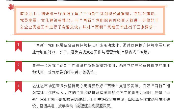 """当好""""两新""""组织党建工作贴心人 @温江区市场监督管理 调研非公企业"""