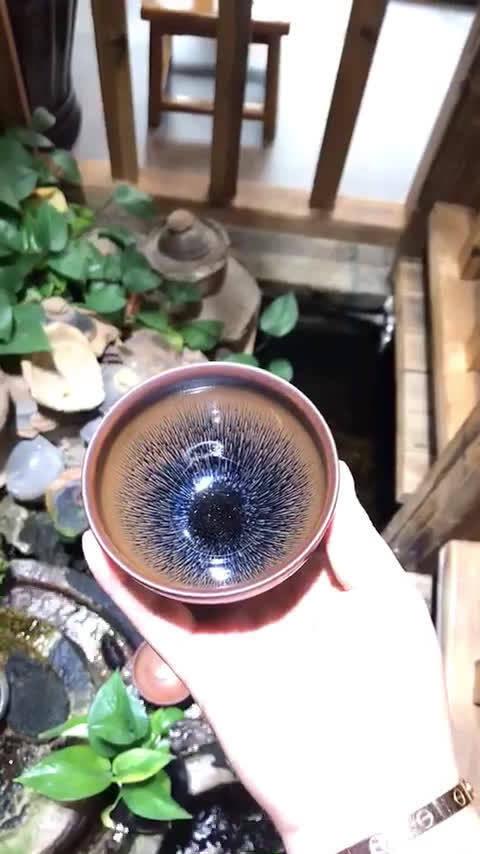 非遗传承人叶礼旺老师金兔毫束口盏:9×5.5