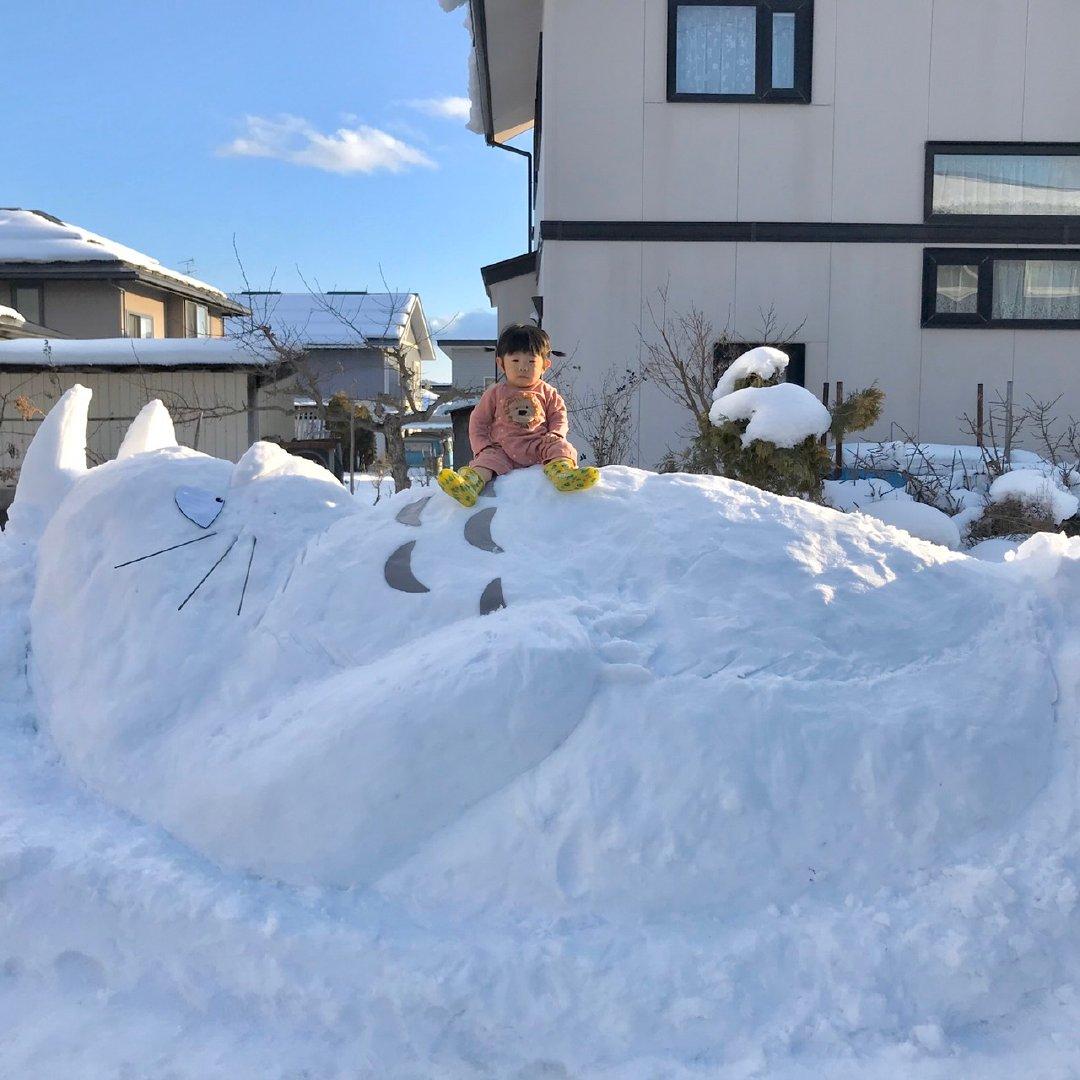 """网友 Bravo 闲得发慌的妹妹做了个""""龙猫""""雪人"""