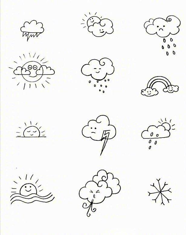 超可爱的天气类简笔画参考