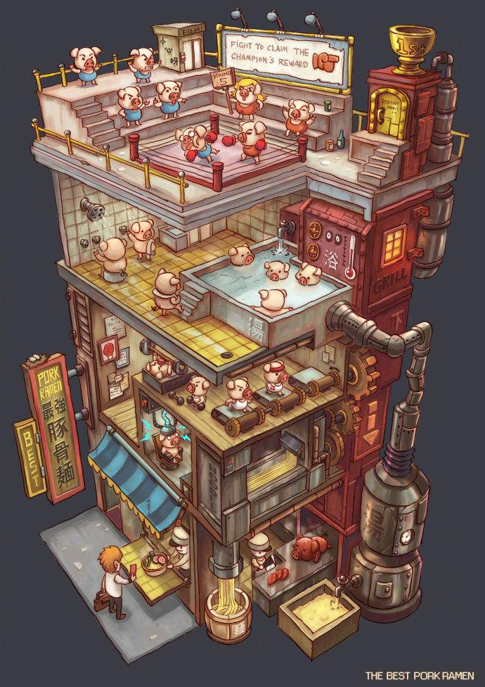 那个画豚骨面和猫屎咖啡大楼的画师又有新作品了