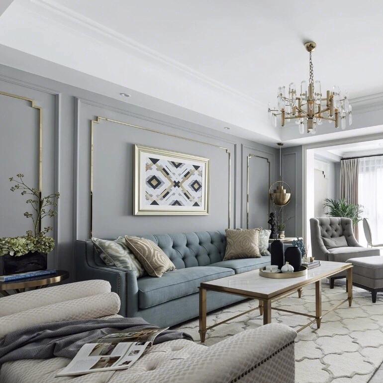 偏美式轻奢风格家装效果图,沙发背景墙很漂亮,床头背景墙更精致