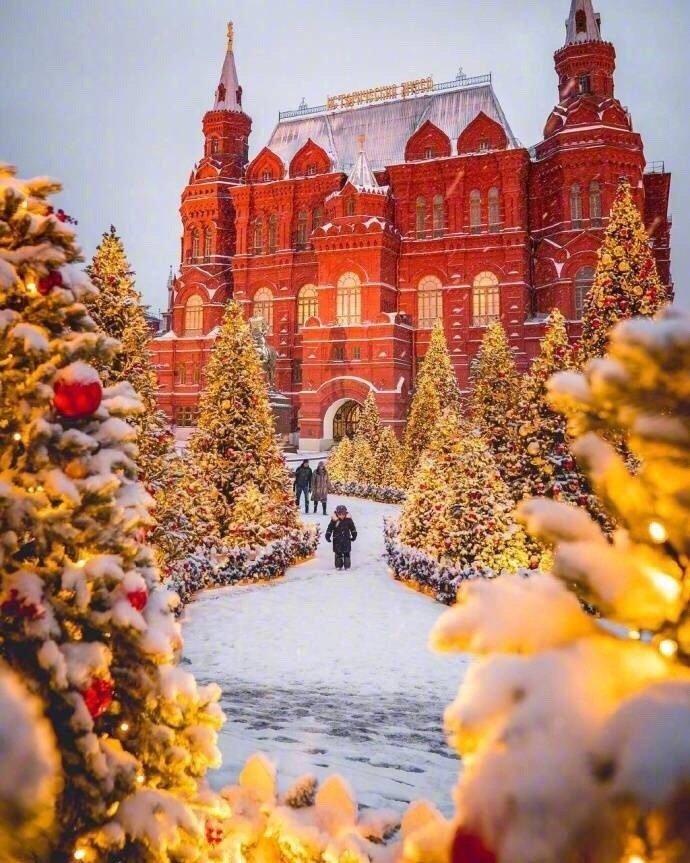 莫斯科的世纪大雪,雪中的红场灿烂又安静。