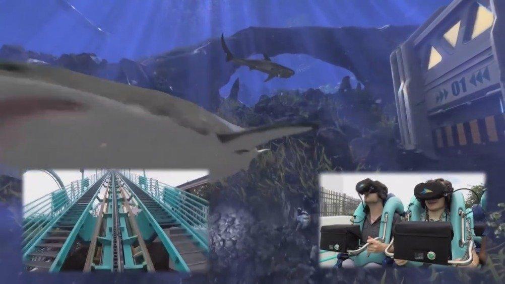 感受一下VR海底过山车!坐在真实的过山车上,戴上VR眼镜