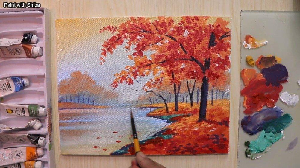 丙烯樱花树风景画,真的是美美的