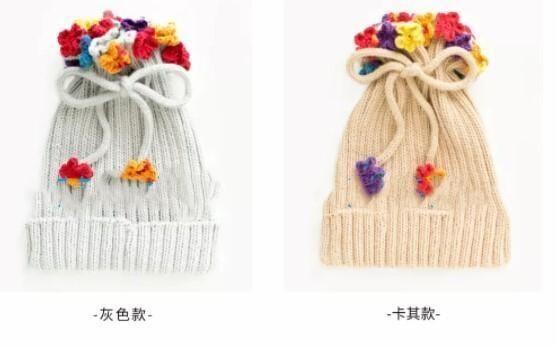棒针花朵 多用儿童围巾帽,宝宝毛线diy手工编织 图解教程!