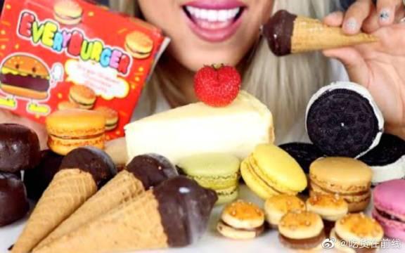 小姐姐吃播各种甜点,马卡龙和巧克力制品果然不会缺席~