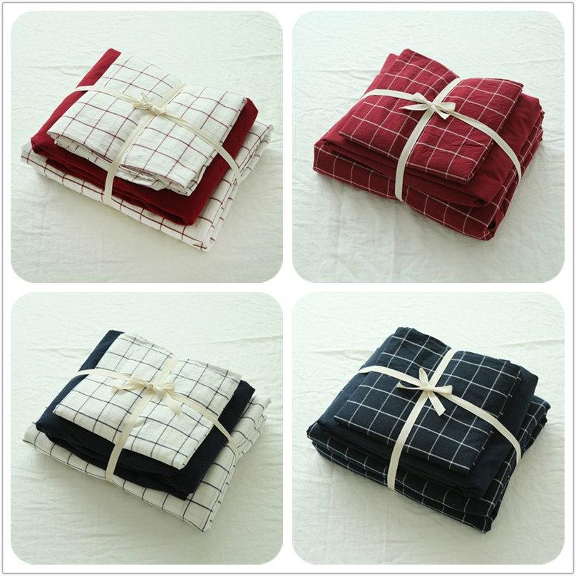 无印良品水洗棉四件套纯棉床上用品格子被套全棉床单床笠三件套