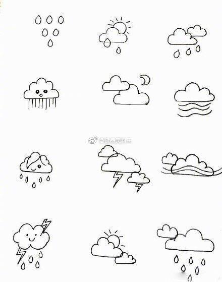 可爱的天气简笔画,拿出纸笔画起来!