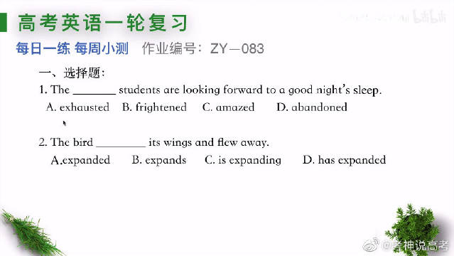 高考英语一轮复习,考纲考点全面覆盖,坚持练习