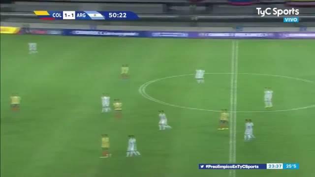 盖奇为阿根廷国奥打入进球,阿根廷2-1领先哥伦比亚