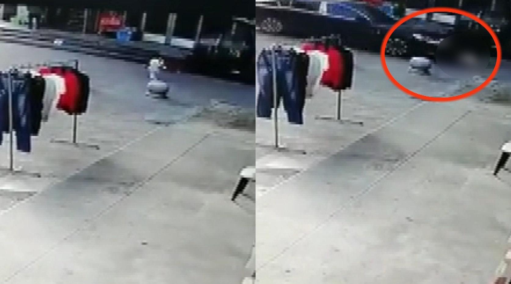 浙江一女孩路边玩耍被卷车底,被拦停时驾驶员一脸懵