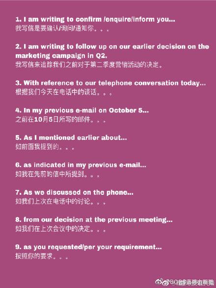 60句实用的商务英语邮件常用语,学习一下。