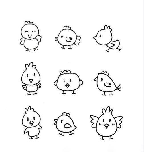 一组萌萌哒的简笔画小动物↓↓手账哄娃必备,留着陪孩子画个够