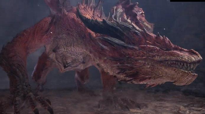 """《怪物猎人 世界 冰原》此前预告中的神秘古龙为""""冥赤龙"""""""