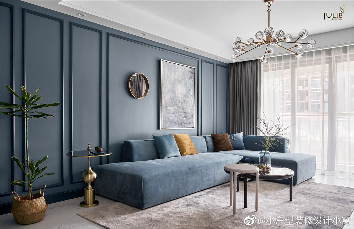 美式轻奢,契合灵魂的家丨JULIE软装设计米灰与雾霾蓝的色系组合