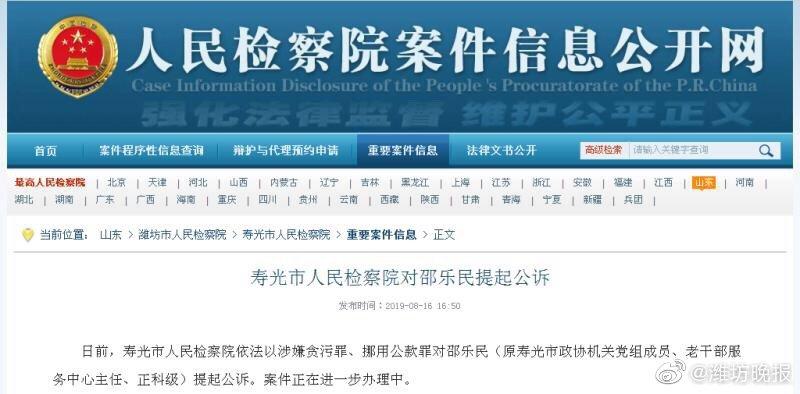 寿光市人民检察院对邵乐民提起公诉