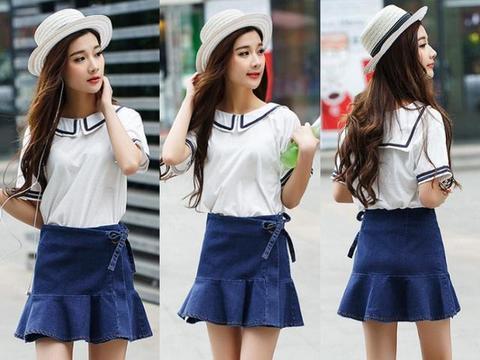 """今年很流行的4款""""鱼尾牛仔半身裙"""",夏季搭配t恤最chic~"""