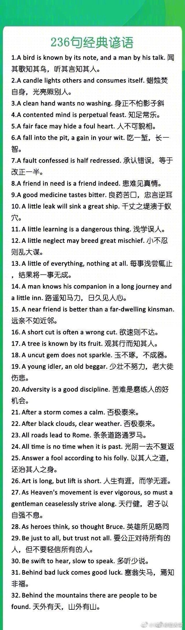236句经典谚语英汉互译,考研英语,英语四六级都能用得上