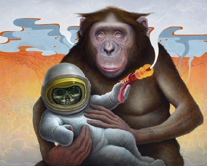 黑猩猩和宇航员:Chris Leib插画作品