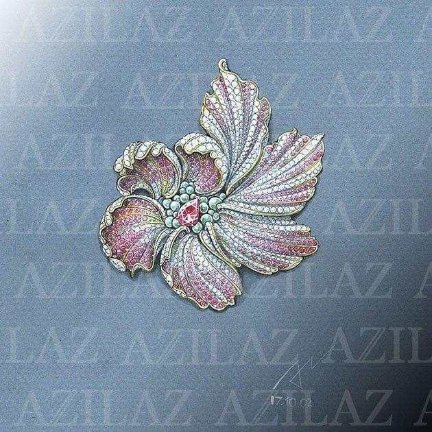 珠宝设计师 azilazt的珠宝设计手绘作品.