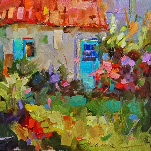 她笔下的油画风景全部使用刮刀堆砌上去的 颜色鲜明,色彩明快 一起来