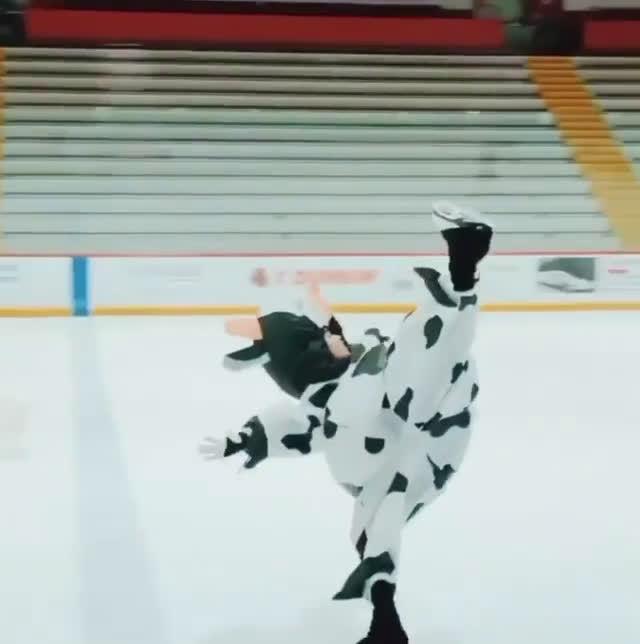 陈楷雯万圣节奶牛装 冰上起舞