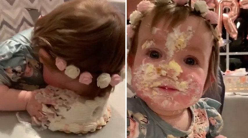 """1岁小萌娃把脸埋在蛋糕里吃 """"人生第一块生日蛋糕太好吃啦"""""""