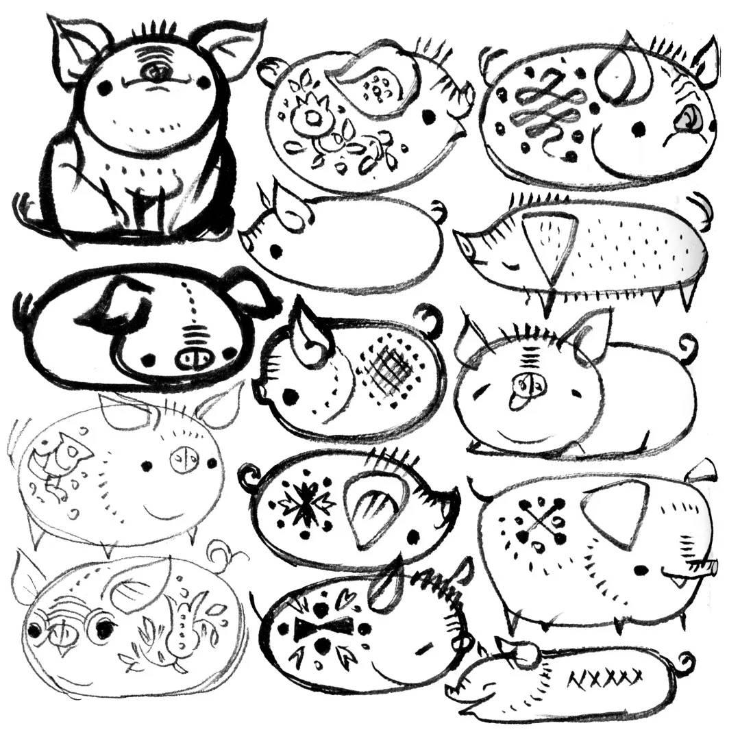 猪年挂历手绘简笔画