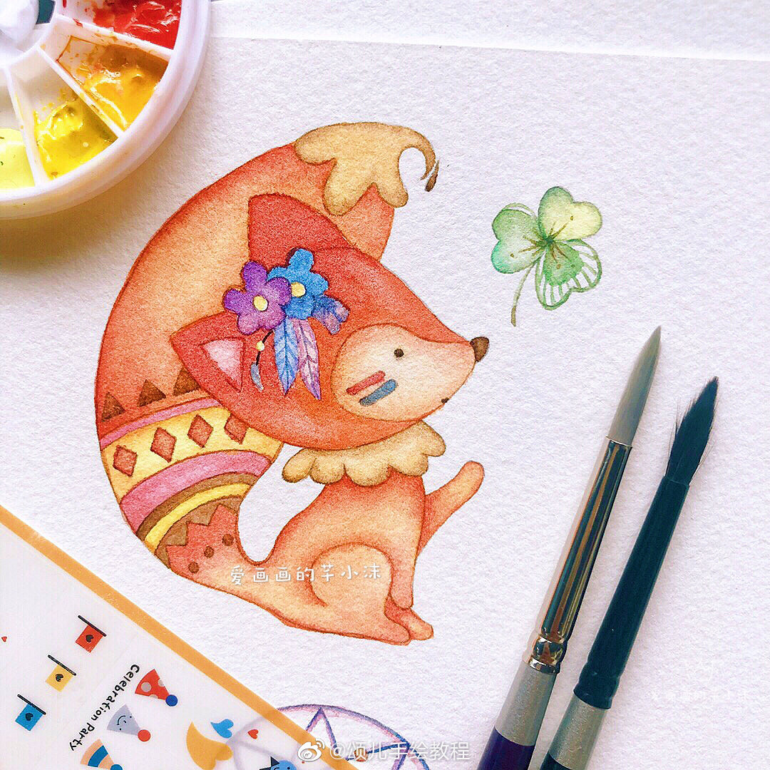 一座森林童话部落,可爱的小动物水彩插画.作者:爱画画