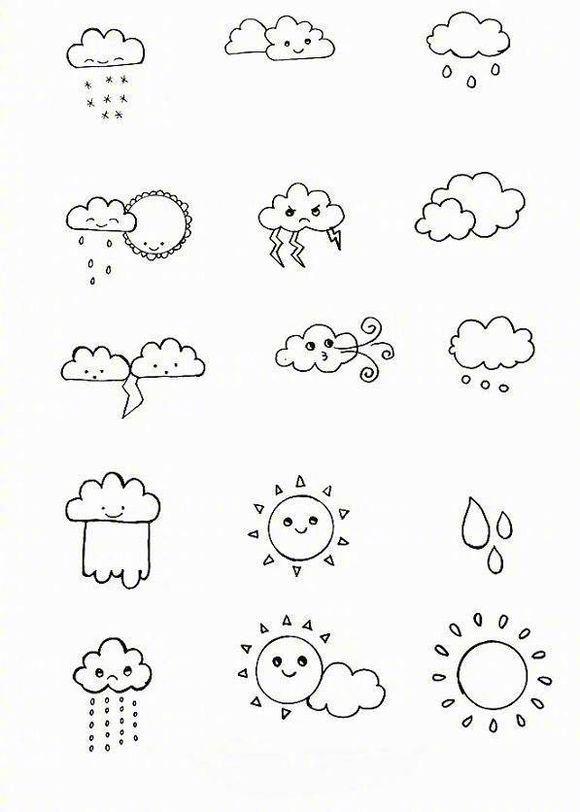 上百个天气小素材简笔画,很可爱很简单,马起来以后教孩子.