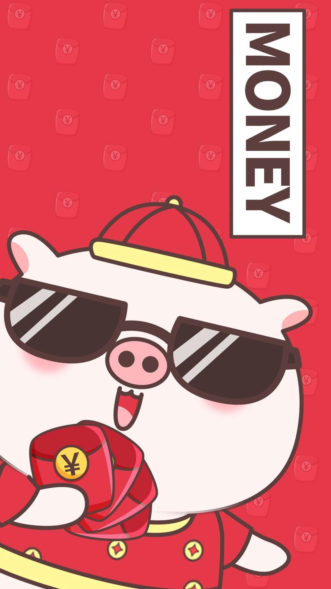 2019,新年卡通可爱猪年手机壁纸,祝大家猪事顺利