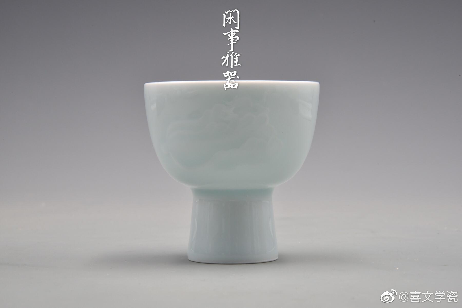 上线新款:粉青釉手工雕刻白菜、莲荷纹高足杯。釉色匀净滋润
