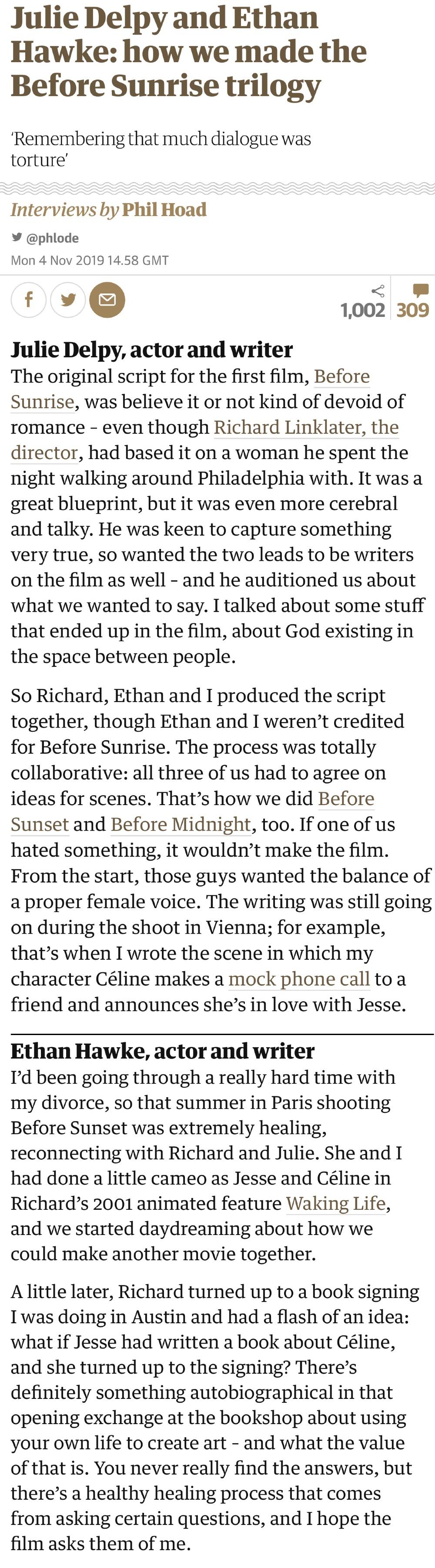 《爱在》三部曲伊桑·霍克与朱莉·德尔佩 两位日前接受英国卫报的采访
