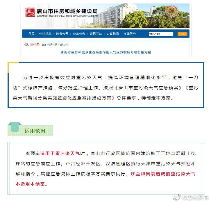 唐山市住房和城乡建设局发布重污染天气应急响应专项实施方案