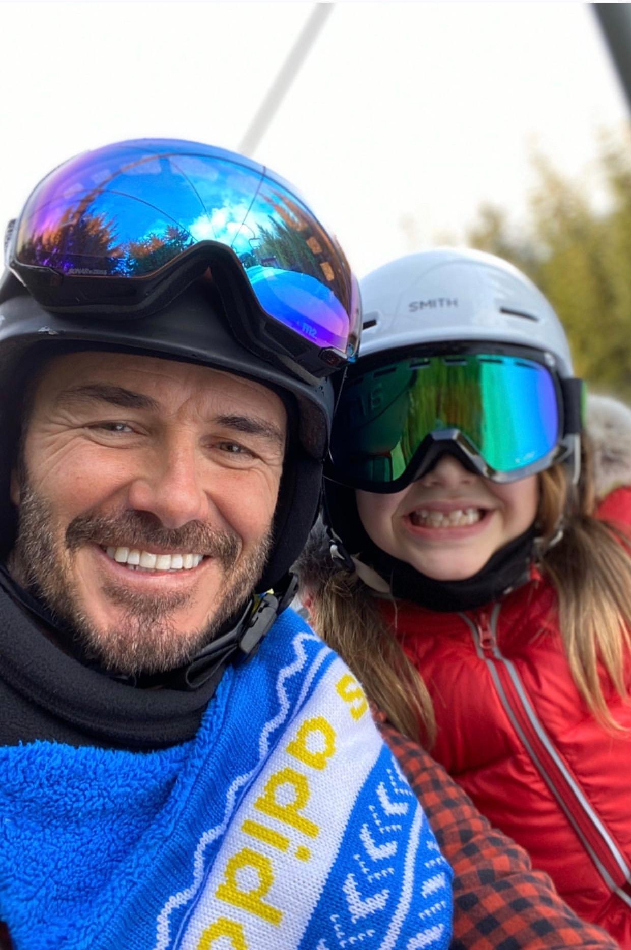 贝克汉姆一家在惠斯勒滑雪 有钱又有闲