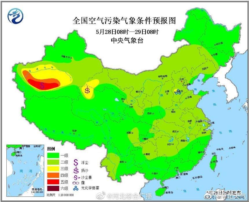 未来一周,我省及京津周边地区大气扩散条件较好,无明显霾天气