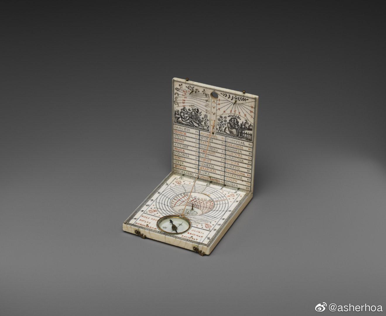 1602年产于德意志纽伦堡的便携可对折象牙日晷