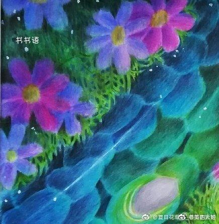 彩铅画手绘作品     书书语的蓝色调投稿