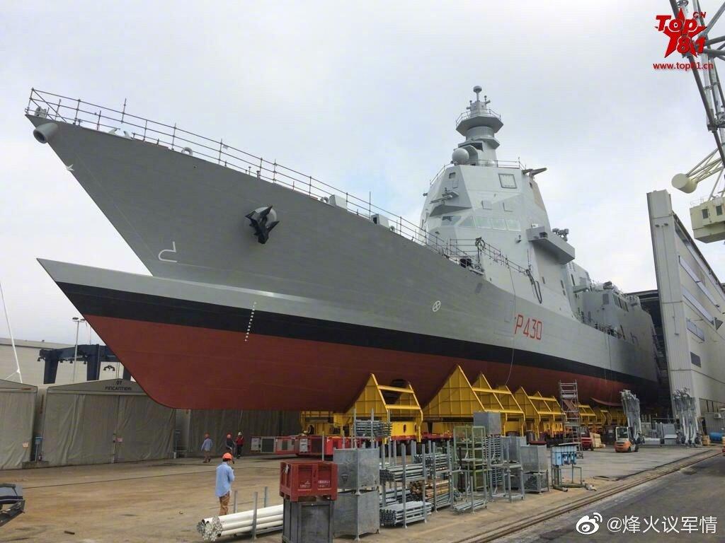 """意大利海军首艘PPA巡逻舰下水,这种形状的舰艏是准备""""碰瓷""""吧"""