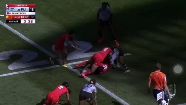 中国 橄榄球女队大年初一战胜斐济!