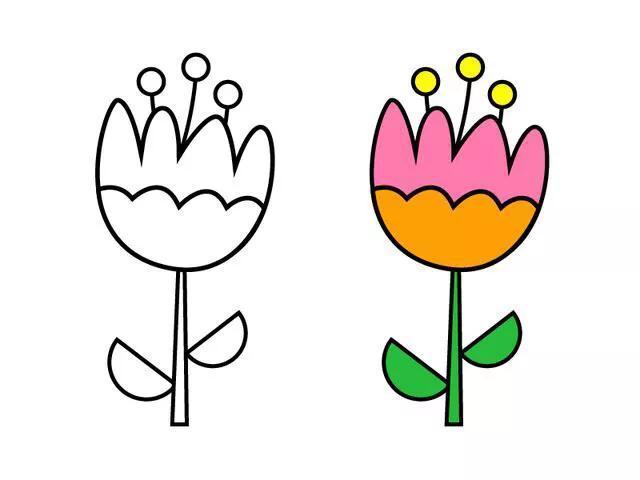 10种不同的小花朵简笔画,家长陪孩子一起画的好素材,收藏!