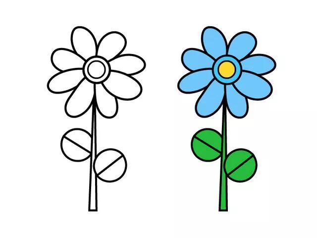 10种不同的小花朵简笔画,家长陪孩子一起画的好素材,收藏 好素材 简