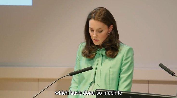 """凯特王妃在""""儿童心理健康早期介入研讨会""""的演讲,纯正英音"""
