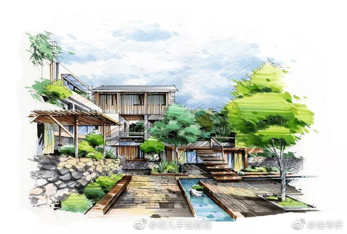 来看看环艺景观手绘步骤图吧!图片来源