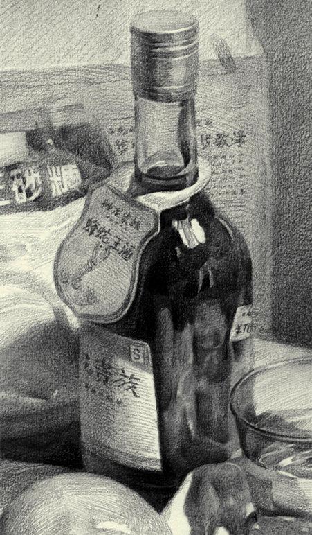 素描中玻璃、塑料透明瓶子怎么画