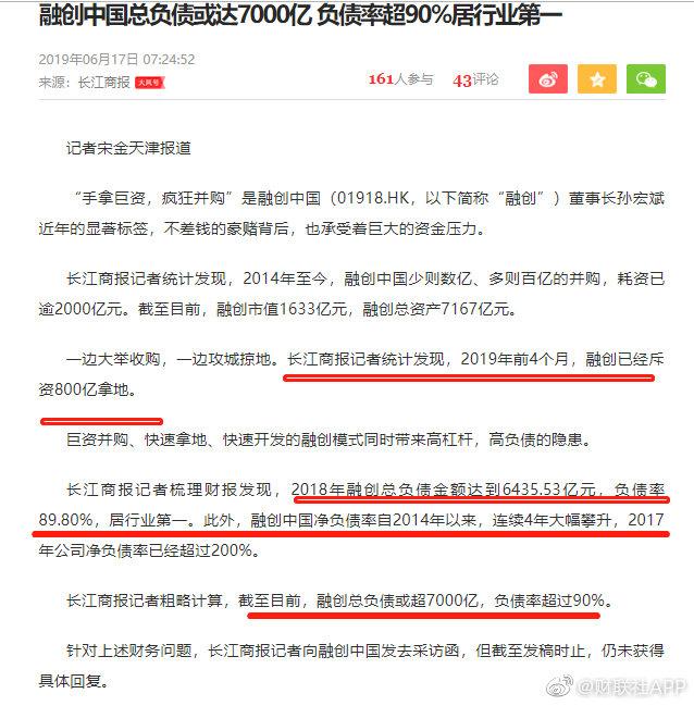 融创中国总负债或达7000亿 负债率超90%居行业第一