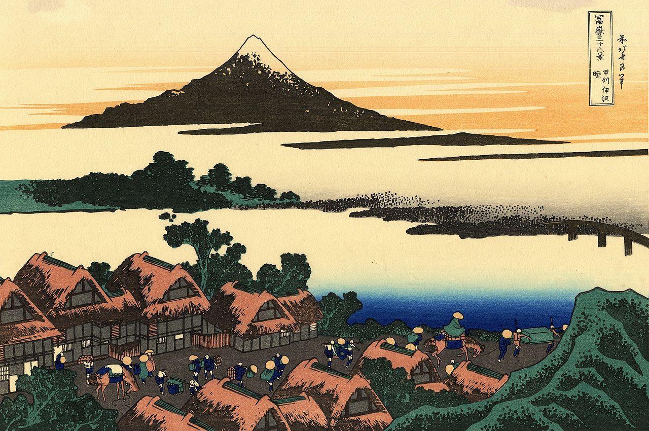 """《富岳三十六景》是日本浮世绘画师葛饰北斋的""""名所绘""""系列作品之一"""